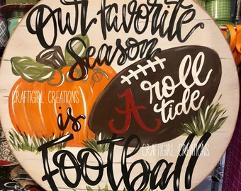 Fall Round Football Door Hanger