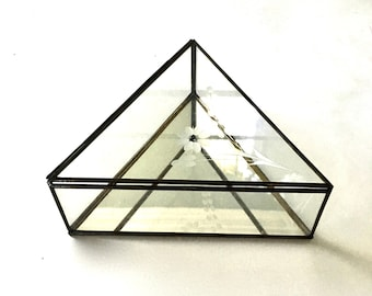 Triangle Glass and Brass Display case / 3 sided Mirrored Glass Display case