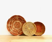 Curated Set of 3 Straw Rattan Baskets Curated Wall Baskets Bohemian Decor
