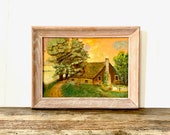 Vintage Oil Painting Thatched Roof Cotttage Landscape