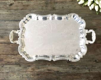 Vintage Footed Silver Tray with handles,  Vanity tray, Shabby Chic French Decor, silver plate, French Farmhouse Decor