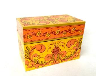 Retro Metal Recipe box with Orange and Yellow design