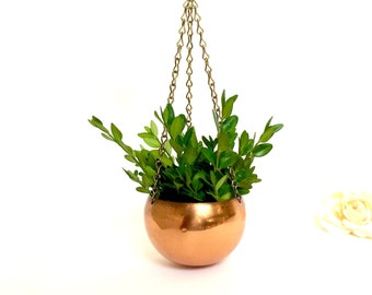 Copper planter Copper Craft Guild miniature hanging planter on chain