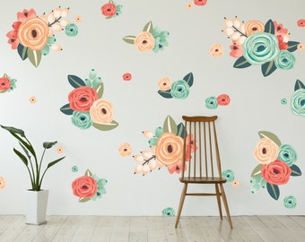 Vinyl Wall Sticker Decals - Graphic Flower Clusters