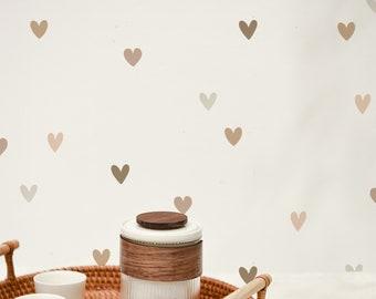"Vinyl Wall Sticker Decals - Mini Watercolor Hearts in Nude 1.5"""