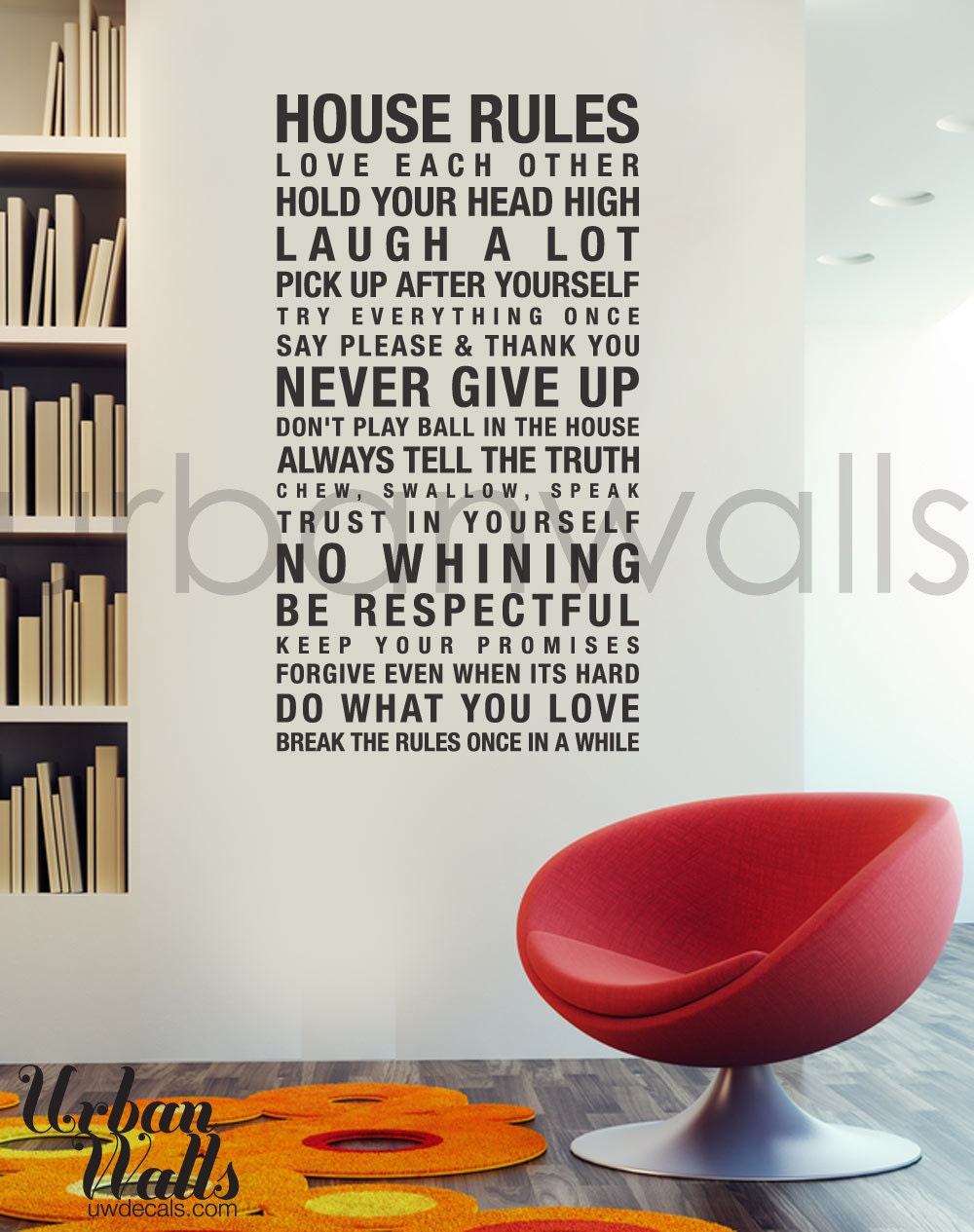 Vinyl Wall Decal Sticker Art House Rules Etsy