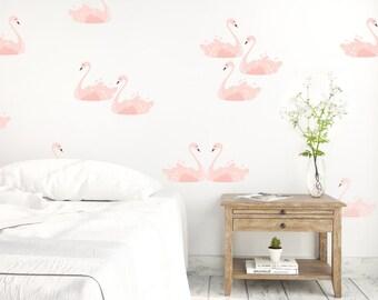 Vinyl Wall Sticker Decal Art - Pink Swans
