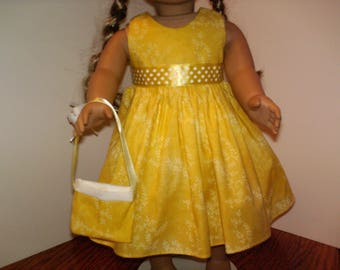 """American Made 18"""" Girl Doll Clothes Yellow Dots N Floral Doll Dress fits 18 inch dolls"""