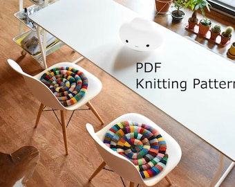 PDF Pattern Knitted Chair Pad - Egg Chair Pillow Knitting Pattern - DIY Rocking Chair Pad Pattern - Eames Chair Pad Pattern - Seat Cosie