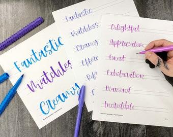 September 2021 Practice Sheets for Happy Lettering Challenge