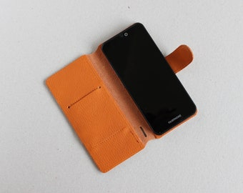 3 2 Orange Italian Leather Case for Fairphone 3 Organizer Purse Zip Fastener Wallet  Pouch Cover