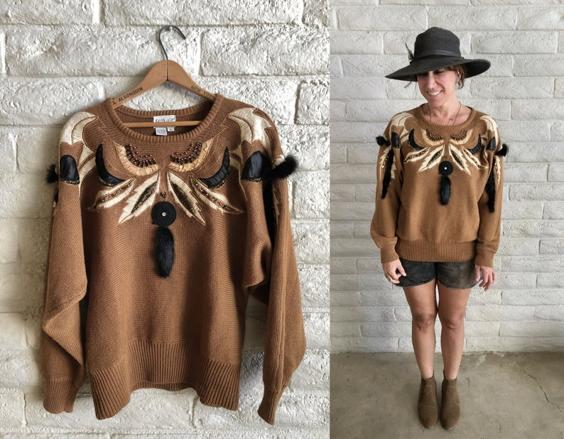 FOUND AVANT GARDE statement sweater ugly sweater  gaudy chic rock star sweater