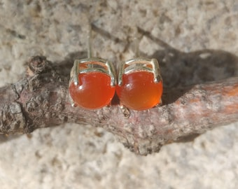 Handmade Carnelian and Sterling Silver Earrings