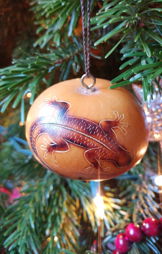Native American Christmas Ornaments.Handmade Native American Carved Lizard Gourd Christmas Ornament