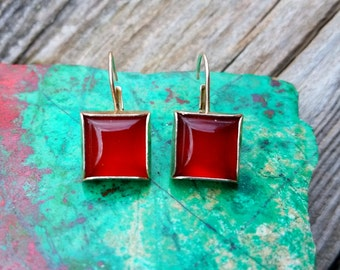 Carnelian and Sterling Silver Square Earrings