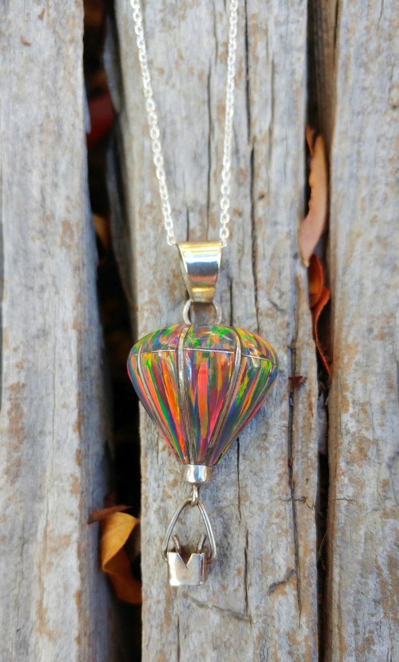 Sterling Silver Handmade Inlay Hot Air Balloon Pendant