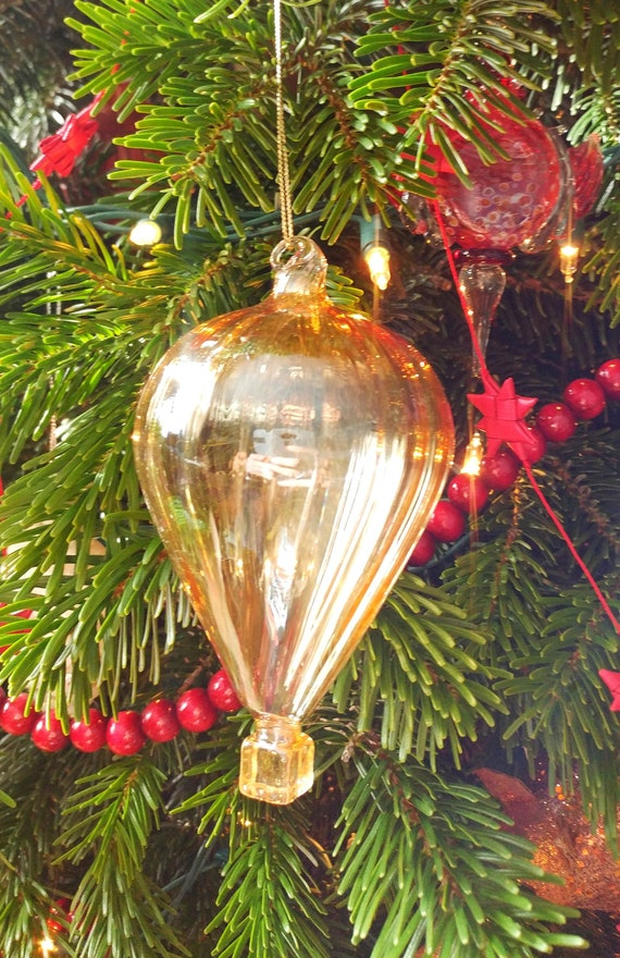 Christmas Tree Balloon.Hand Blown Glass Hot Air Balloon Christmas Tree Ornament
