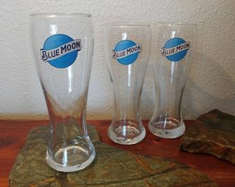 Set of Three Blue Moon Pilsner Glasses