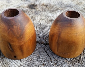 Hand-carved Pair of Walnut Candle Holders