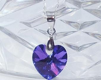 Silver Pendant, Swarovski Heart, Purple Heart 14mm, Vitrail, Sterling Silver Pendant, Heart Pendant, Multicolor Pendant, Heart Necklace