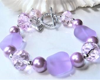 Lavender Cultured Sea Glass Bracelet, Beach Bracelet, Summer Wedding, Ocean Jewelry, Lilac, Summer sea glass jewelry