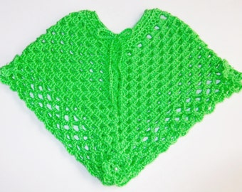 Crochet Baby Poncho, Lime Green Infant Poncho, Size 3-6 Months, Baby Girl Poncho, Flowered Baby Poncho, Hand Crocheted Baby Shower Gift