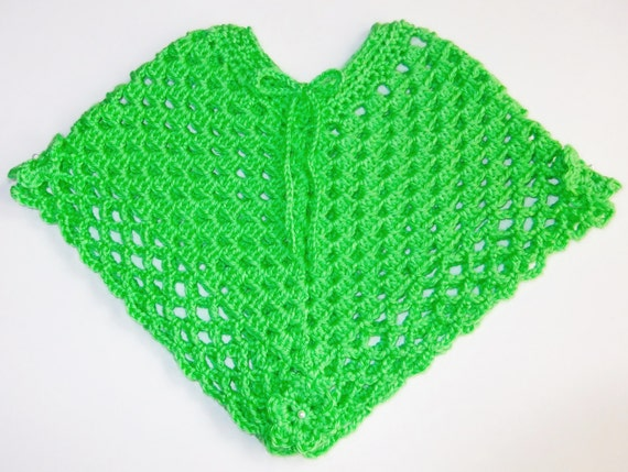 Crochet Baby Poncho Lime Green Infant Poncho Size 3 6 Etsy