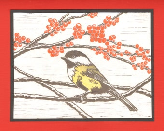 5 Handmade Chickadee Cards (Turquoise or Red)