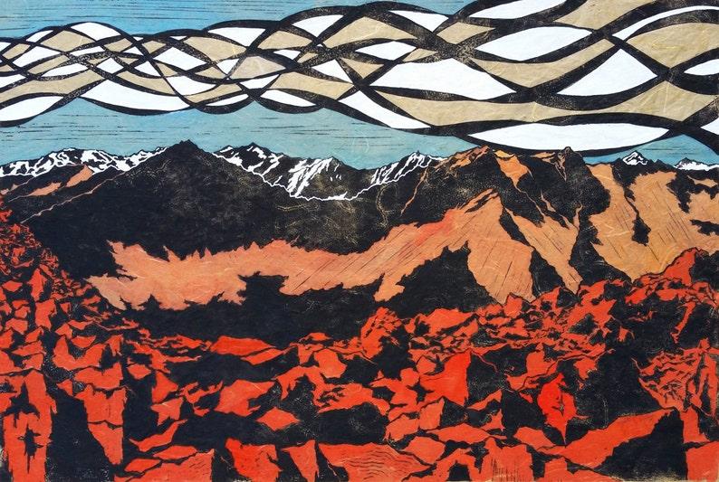 Original Linocut Blue or Yellow White Cloud Mountains