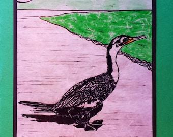 5 Handmade Cormorant Cards (Green, Brown, or Sage Green)