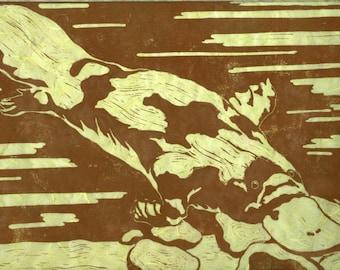 Platypus - Original Linocut (Green or White)