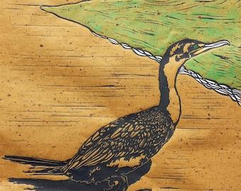 Cormorant - Original Linocut (Brown or White)