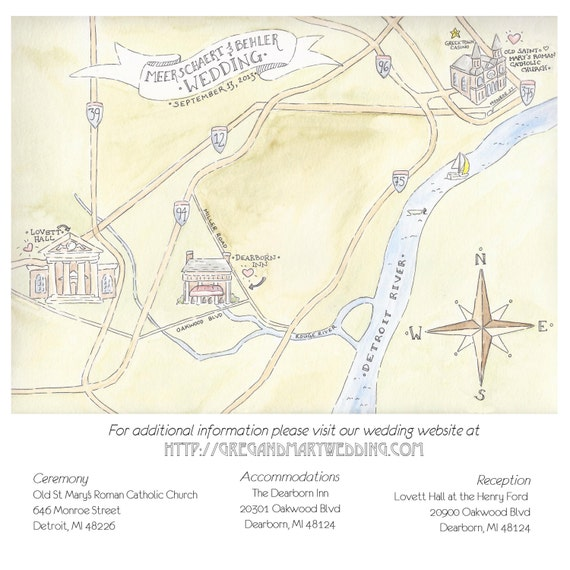 Custom Painted Wedding Map Original Painting And Printable Etsy