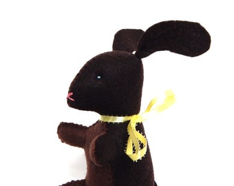 Chocolate bunny Easter stuffed animal felt food plushie toy or decoration