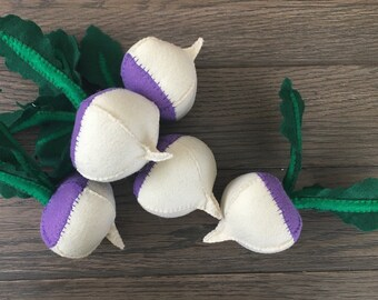 One Handsewn Turnip Felt Food Plush
