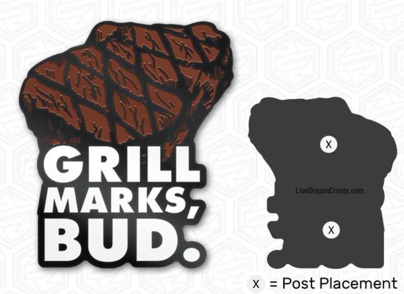 Grill Marks Soft Enamel 1.5 Pin Pre-Order image 0
