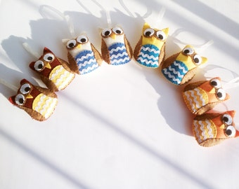 Plush Christmas Owl Ornaments- Your choice of 2