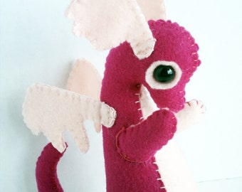 Baby Dragon felt plush stuffed animal- fushia with light pink