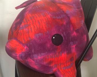 Giant fleece pink, red, purple tie dye pig stuffed animal plushie
