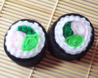 Two California Rolls (No. 2) Felt Sushi Toys