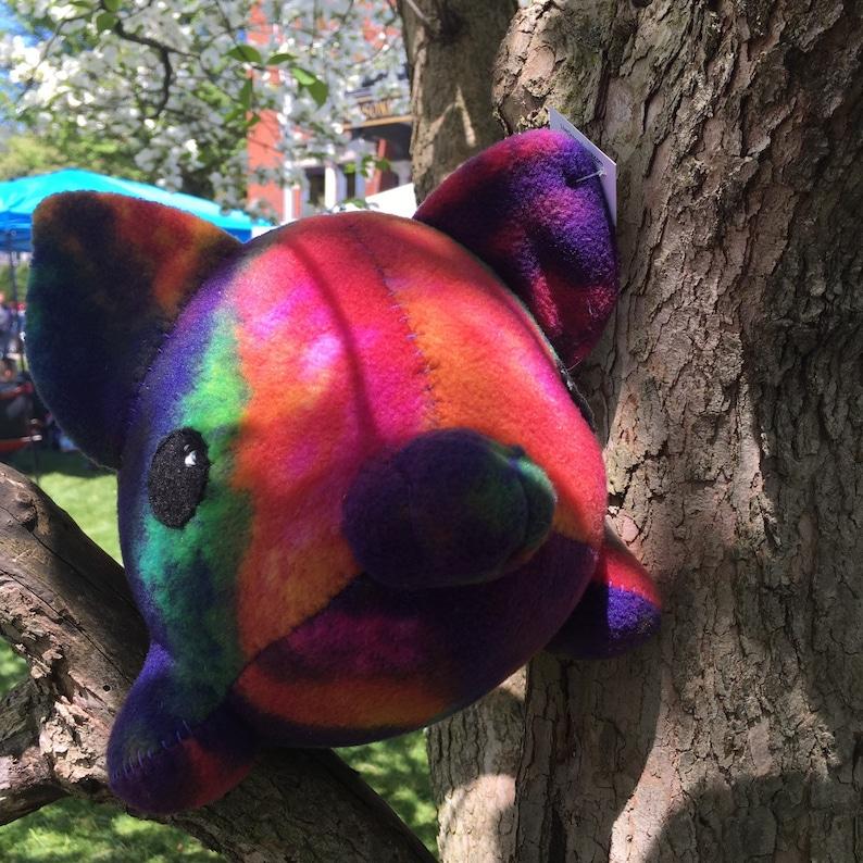 Large Tie Dye fleece pink pig stuffed animal image 0