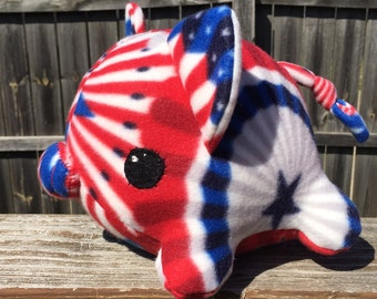 Large fleece pig stuffed animal- Summertime Fourth of July Independence Day Celebration Red, White, Blue