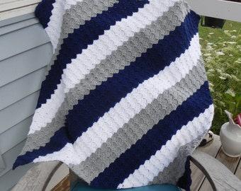 Crochet Baby Blanket Baby Afghan Baby Boy Or Baby Girl White Etsy