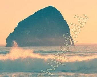 Ocean Photography, Haystack Rock Cape Kiwanda Pacific City Oregon, Seascape, Beautiful Pacific Ocean At Sunset, Crashing Surfing Blue Waves