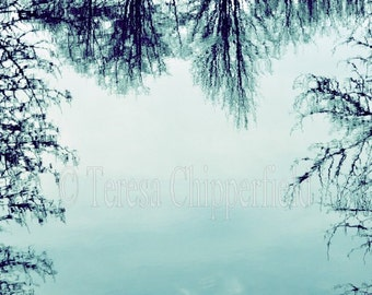 Reflective Water Print, Pale Teal Photo, Beautiful Willamette River, Oregon, Sunny Winter Day, Clouds, Tree Wall Art, Wall Decor, 8x12,16x24