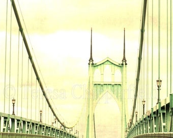 St. Johns Bridge Photo, Portland Photography, Gothic Green Bridge Print, Urban PDX Bridge Photography, Vintage Urban Decor, Bridge Wall Art