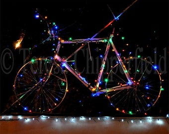 Bicycle Photo, Light Up My Bike, Fine Art Photography, Christmas Lights, Multicolored Home Decor, Fun Sparkling Wall Decor, Twinkle Lights