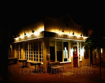 Salt and Pepper Restaurant, Tiburon Downtown Photography, Night Photography, California Restaurant Print, Favorite Dining Location, Bay Area