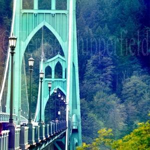 night photography northwest St architecture John/'s Bridge Portland Oregon Art Tapestry Gothic street long exposure steel suspension