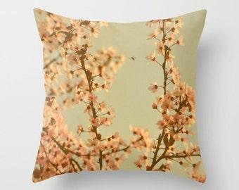 Blossom Throw Pillow, Spring Floral Pillow, Peachy Pastel Pillow, Spring Flower Photo Decor, Green, Shabby, Dreamy, Translucent, Home Decor